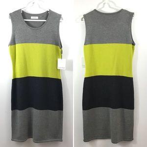 CALVIN KLEIN Colorblock Sleeveless Sweater Dress